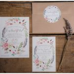 Bohemian Floral Watercolor Wedding Invitations   Caroline + Pete
