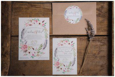 bohemian floral watercolor wedding invitations
