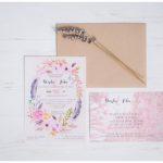 Bohemian Floral Watercolor Wedding Invitations   Daisha + John