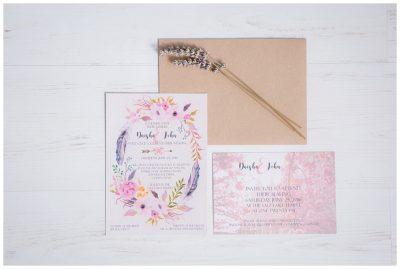 feminine bohemian watercolor floral wedding invitations